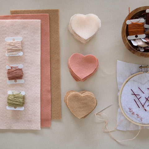 Materials for embroidered heart garland. DIY Valentine's Garland.