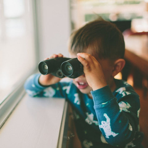 A child looking for birds with binoculars