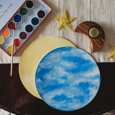 Stockmar wet on wet watercolors for a Waldorf moon phase chart