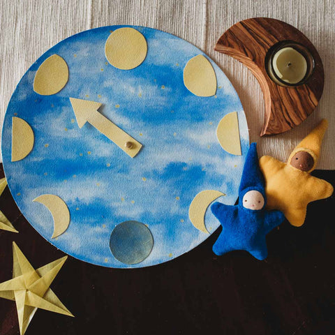 Celebrating Ramadan with kids with a waldorf watercolor moon phase chart