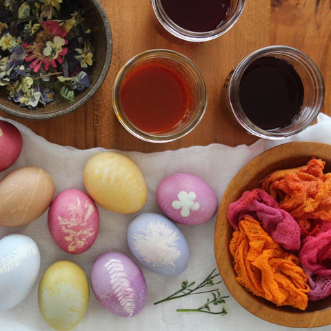 Naturally dyed floral printed Easter eggs