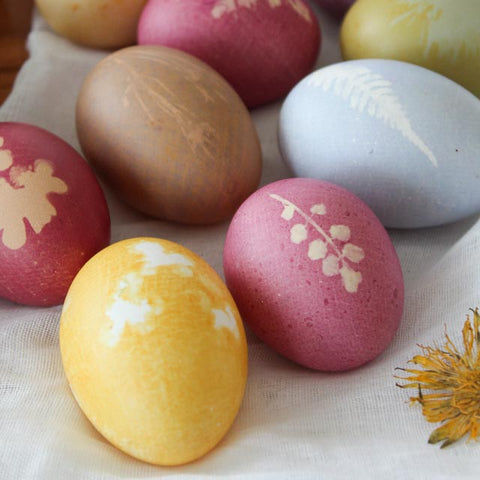 Naturally dyed floral print Easter eggs