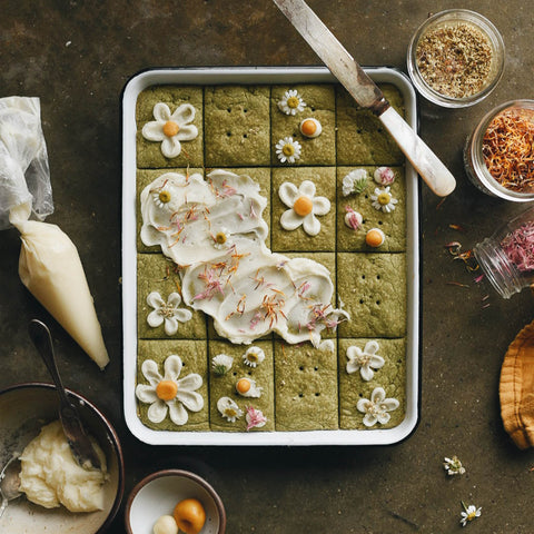 Green Tea and Flower Shortbread Cookies by KC Hysmith
