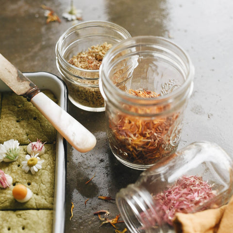 Jar of flower petals for Green Tea and Flower Shortbread Cookies by KC Hysmith