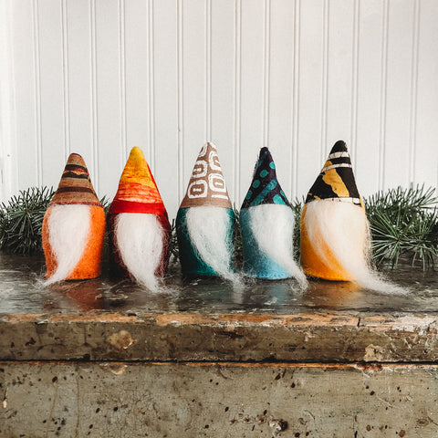 Handcrafted felt gnomes for holiday decor made for Bella Luna Toys