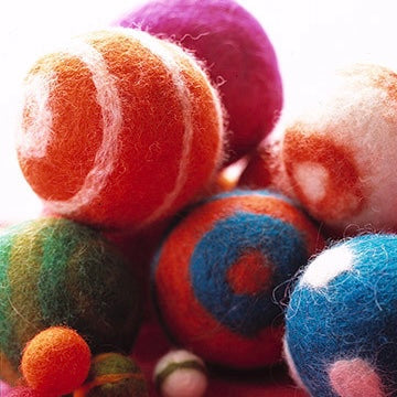 Colorful wet felted wool balls