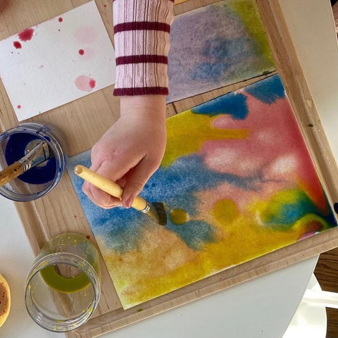 Wet on wet watercolor with Stockmar paints Waldorf education