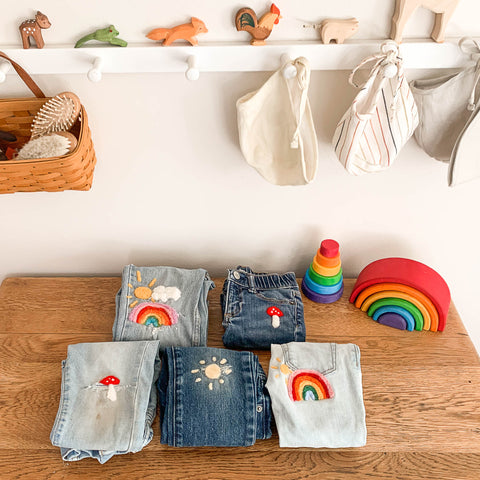 Jeans mended with needle felted patches Waldorf craft