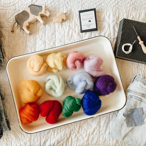 An assortment of colorful wool for needle felting