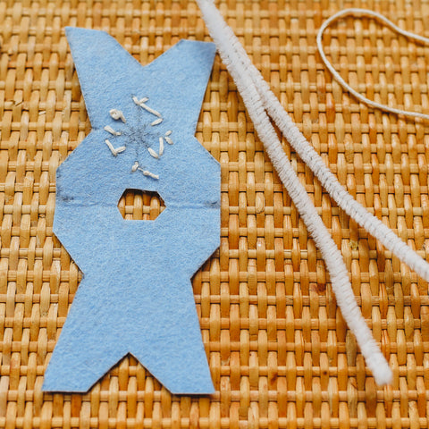 A piece of felt with a hole cut to slide in pipe cleaner body for the waldorf doll.