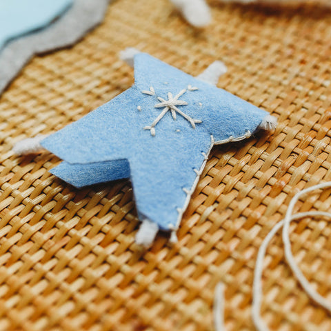 Use a blanket stitch to close one side of the felt.