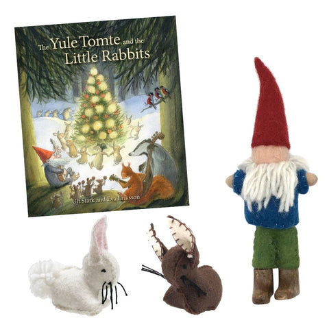 The Yule Tomte and the Little Rabbits paired with felt gnome and bunny