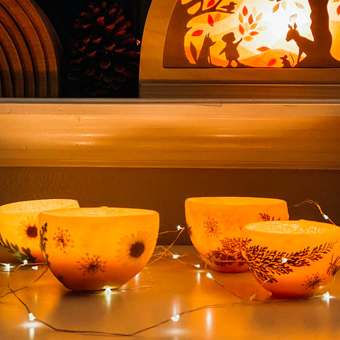 Beeswax luminaries on a fall nature table