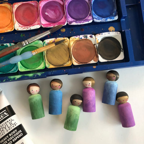 Painting peg dolls with Margaret Bloom