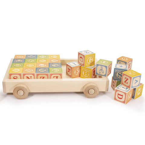 Uncle Goose Classic Alphabet Blocks in wagon