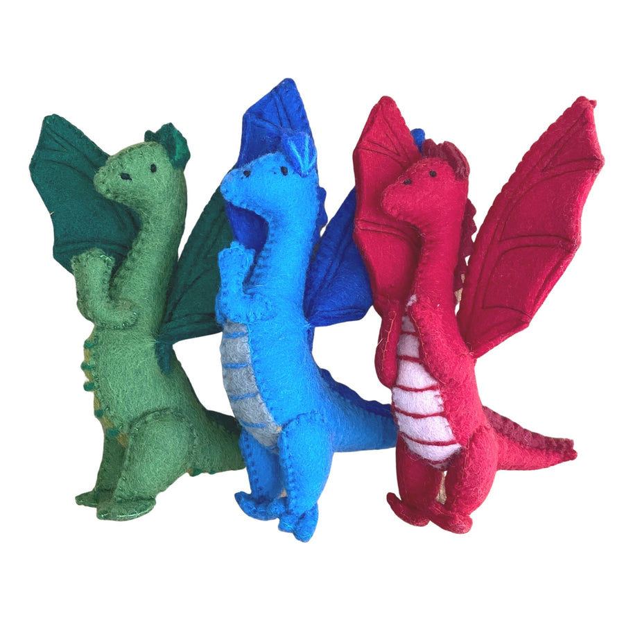 Papoose Toys - Felted Dragons  - Set of 3 - Red, Blue and Green - Bella Luna Toys