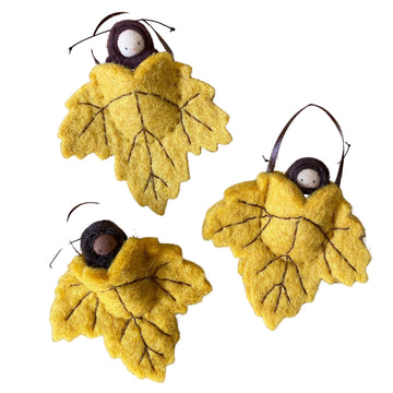 Leaf Pocket Baby Ornament - Three Skin Tones - Bella Luna Toys