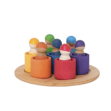 Grimm's Rainbow Wooden - Multiethnic -Peg Dolls in Bowls - Bella Luna Toys