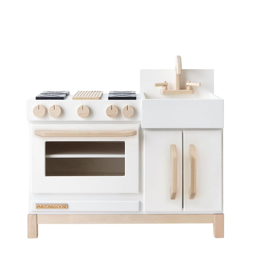 Milton and Goose Essential Wooden Play Kitchen - White - Bella Luna Toys