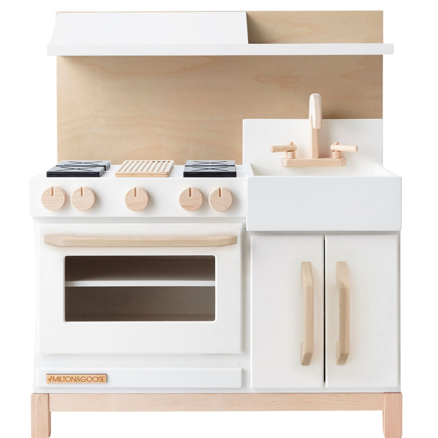Milton and Goose Essential Wooden Play  Kitchen - White with Hood - Bella Luna Toys