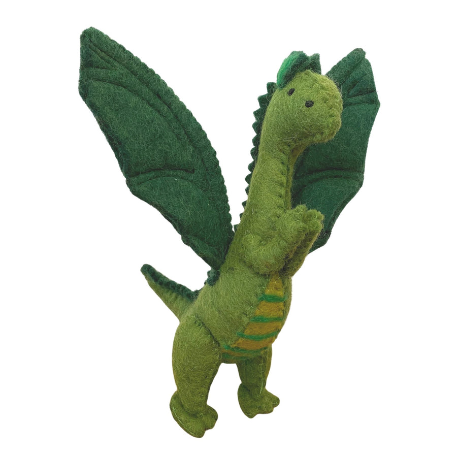 Papoose Toy - Felted Dragon, Green - Bella Luna Toys