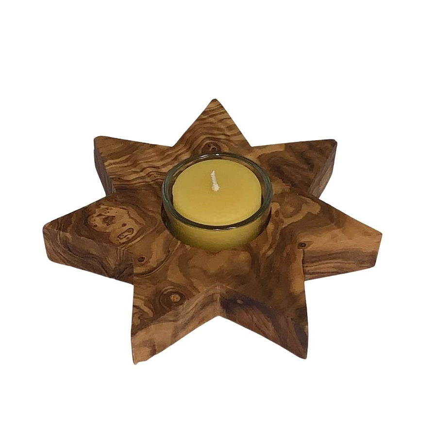 Olive Wood Star Votive Candle Holder