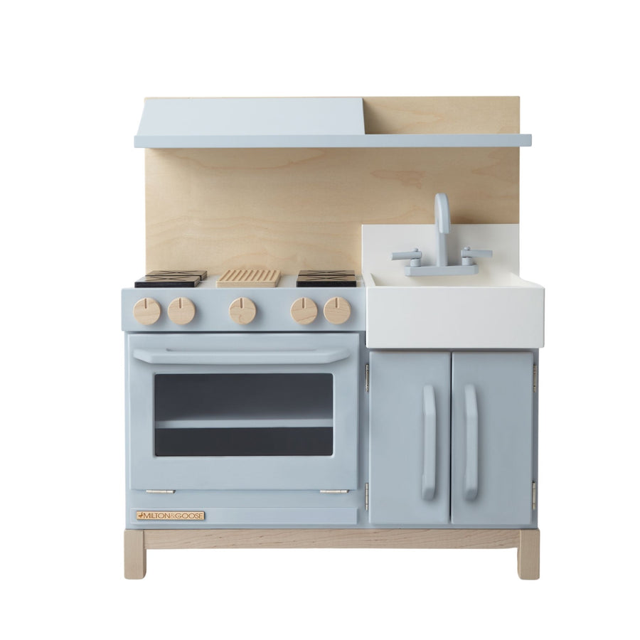 Milton and Goose Essential Wooden Play Kitchen - Gray with Hood - Bella Luna Toys