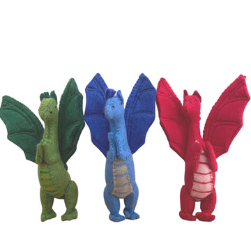 Papoose Toys - Felted Dragons Standing,  Set of 3 - Red, Blue and Green - Bella Luna Toys
