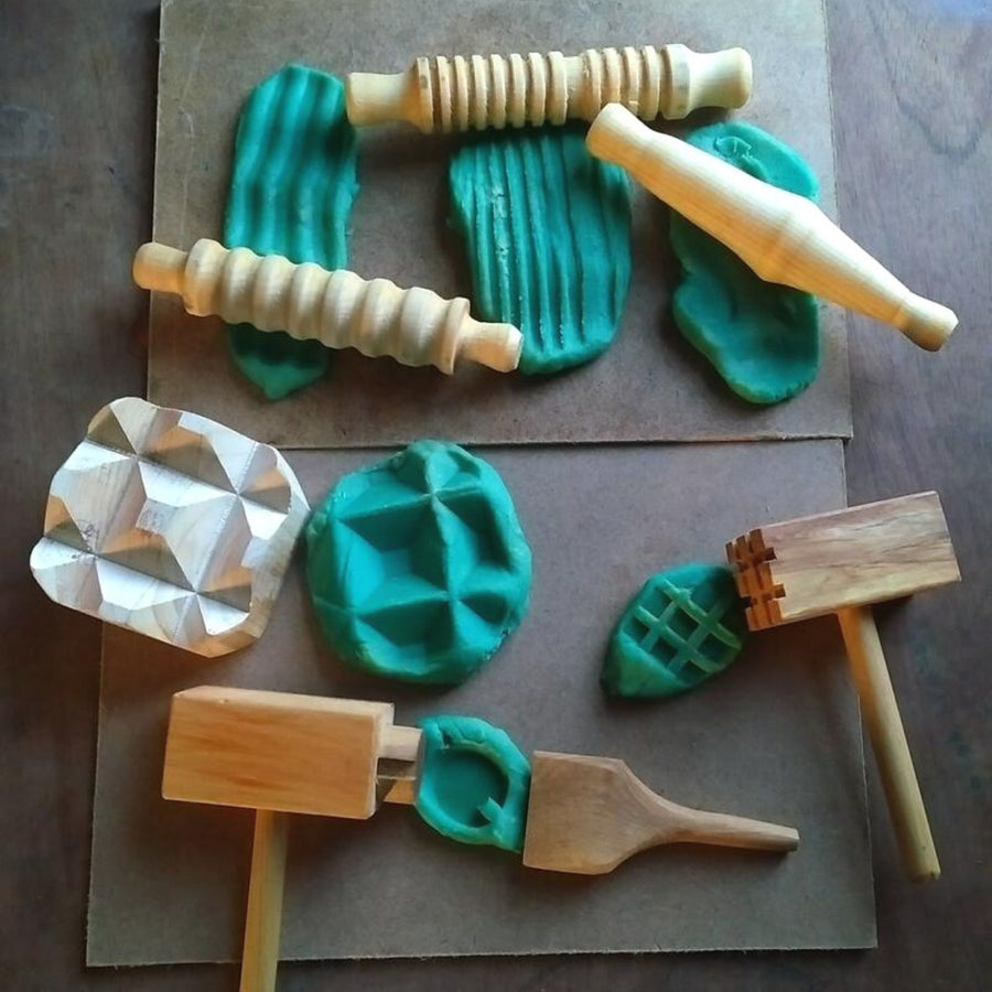 WOODEN TOOLS FOR DOUGH AND CLAY PLAY - Bella Luna Toys