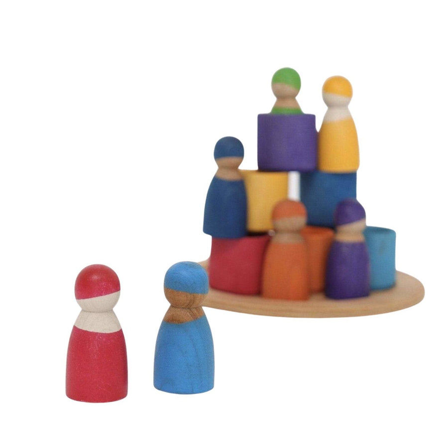 Grimm's Rainbow Wooden Peg Dolls in Bowls - Bella Luna Toys