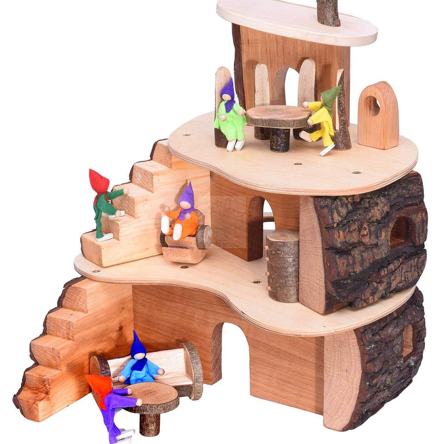 Small Tree House - Wooden Fairy House with Gnomes - Bella Luna Toys