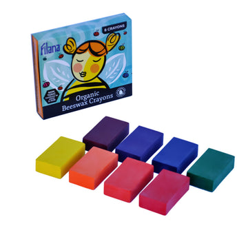 Filana Organic Beeswax Crayon Set - 8 Blocks, Rainbow Colors