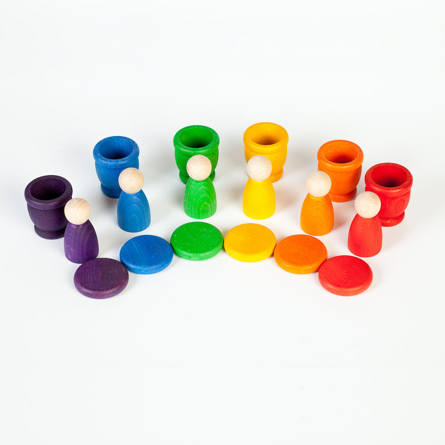 Nins Cups and Coins Stack and Sort - Rainbow - Grapat - Bella Luna Toys