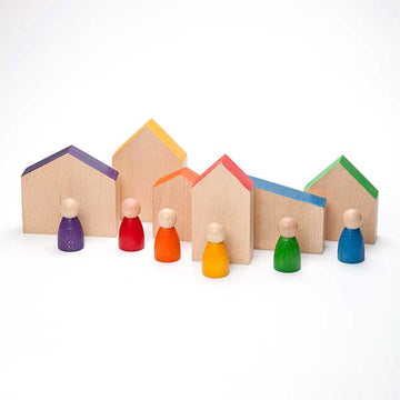 Grapat Wooden Toys - Houses and Nins - Set of 12 - Bella Luna Toys