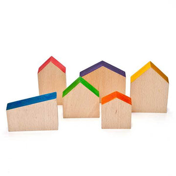 Grapat Wooden Toy Houses - Set of 6 - Bella Luna Toys