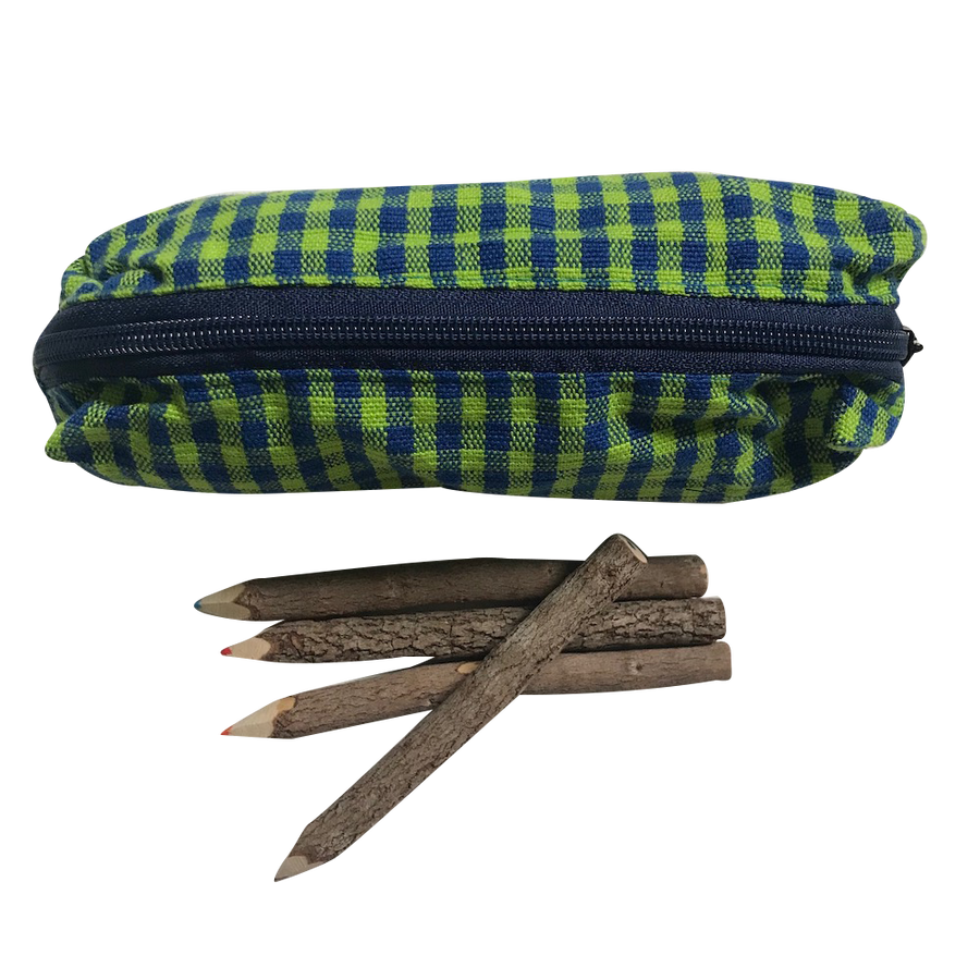 Pencil Case - Green Gingham with Pencils - Bella Luna Toys