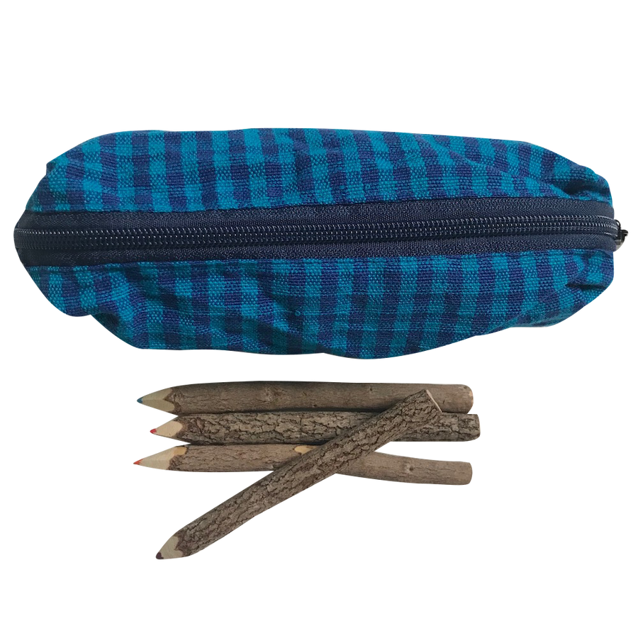 Pencil Case - Blue Gingham with Pencils - Bella Luna Toys