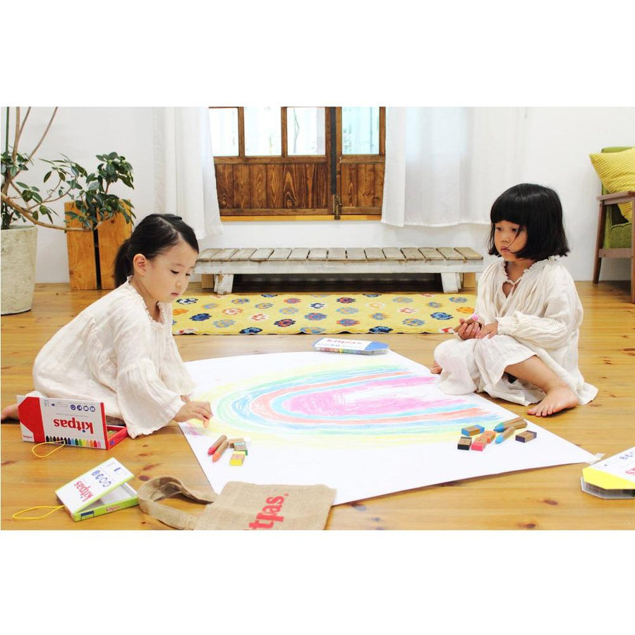 Kitpas Art Crayons Life Paper Floor Two Girls | Bella Luna Toys
