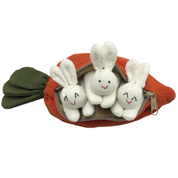 Three Bunny Rabbits in a Carrot Pouch Toy - Bella Luna Toys