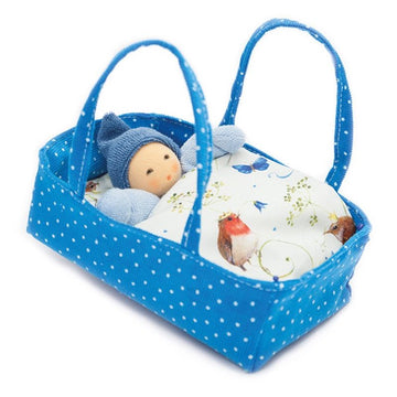 Nanchen Organic Baby Doll in Bed - Blue - Terry Rattle Doll - Bella Luna Toys