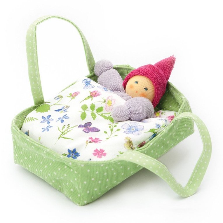 Nanchen Organic Baby Doll in Bed - Green - Bella Luna Toys