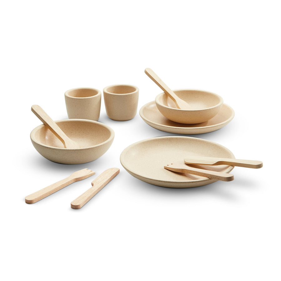 Plan Toys 3614 Wooden Tableware Set - Play Dishes | Bella Luna Toys
