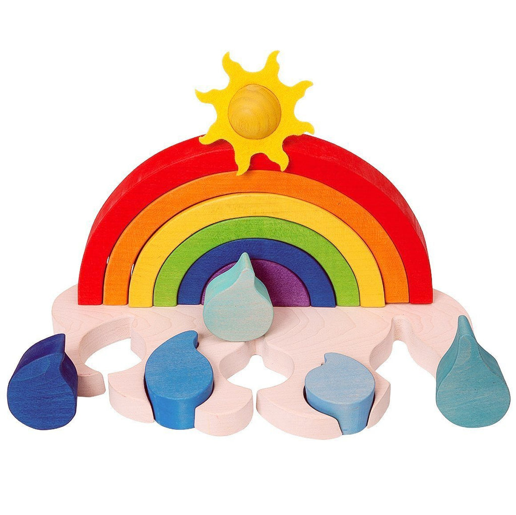 Wooden Rainbow Stacking Sorting Toy - Bella Luna Toys