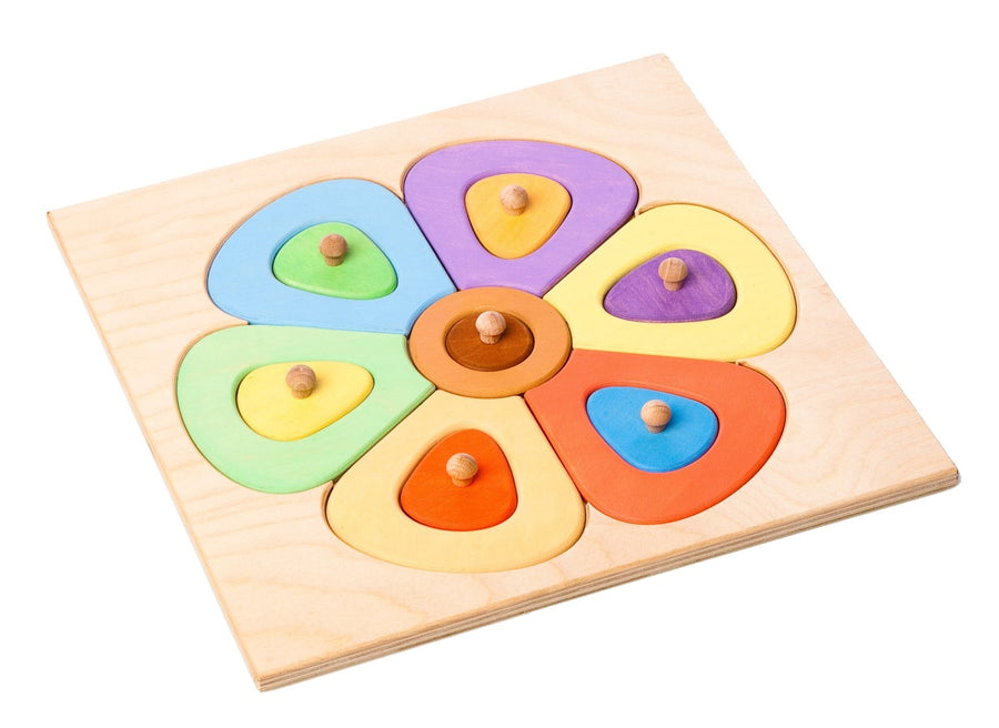 Wooden Flower Peg Puzzle - European - Bella Luna Toys