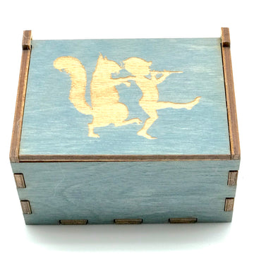 Wooden Tooth Fairy Box - Blue with Squirrel with Piper - Bella Luna Toys