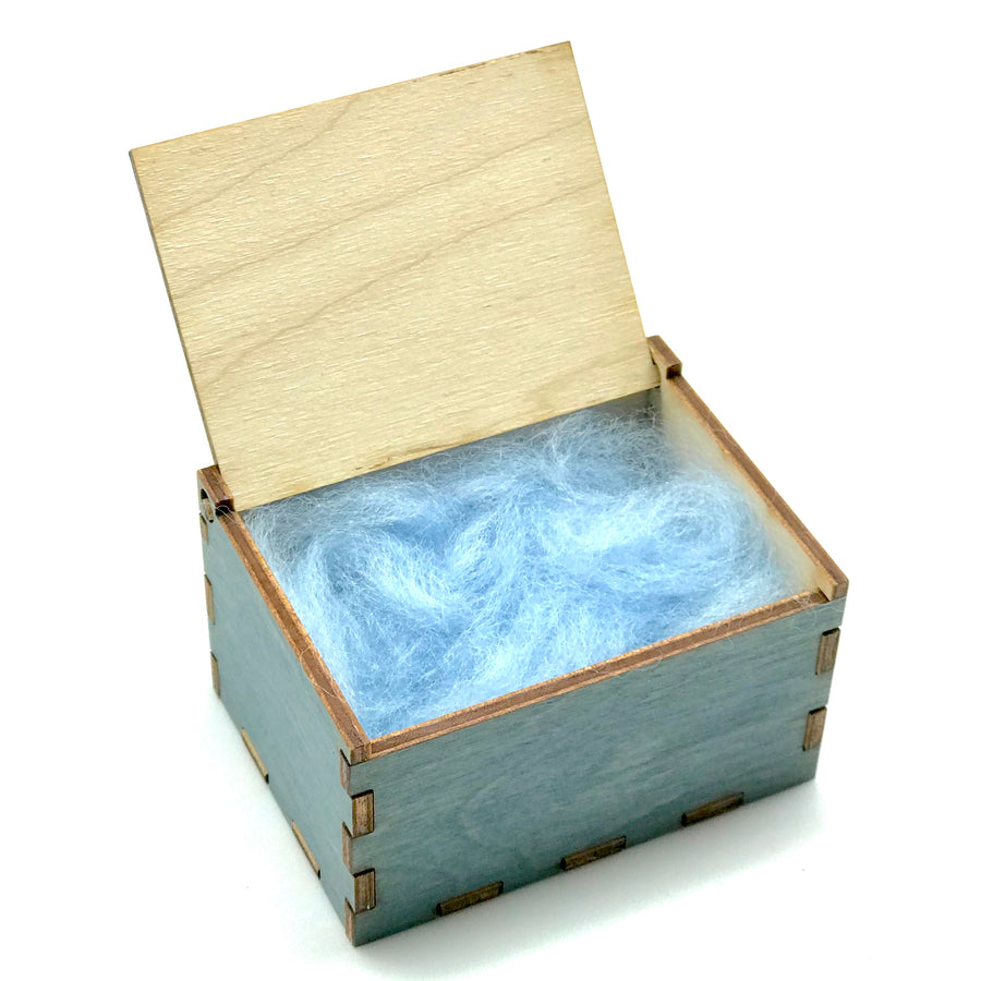 Wooden Tooth Fairy Box - Blue Open with Wool Fleece - Bella Luna Toys