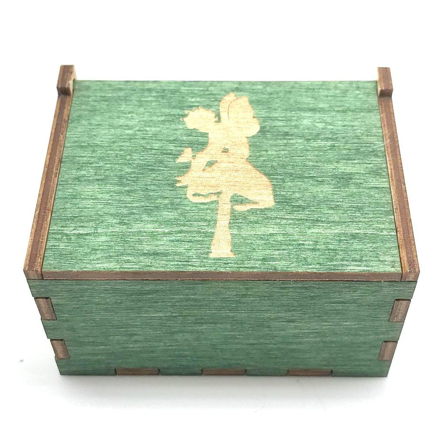 Wooden Tooth Fairy Box - Green with sprite with bird - Bella Luna Toys