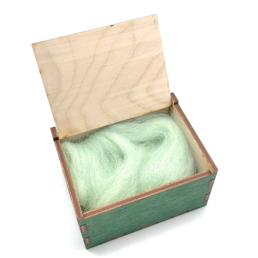 Wooden Tooth Fairy Box - Green Open with Wool Fleece - Bella Luna Toys