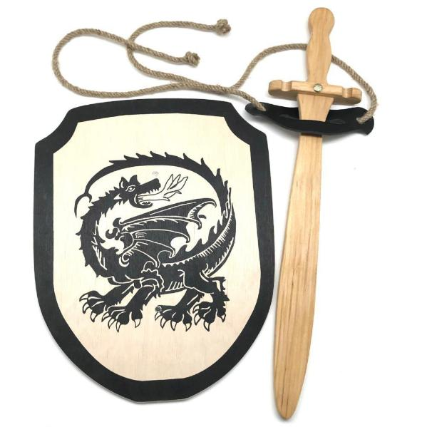 Wooden Toy Sword and Dragon Shield with Belt - Bella Luna Toys