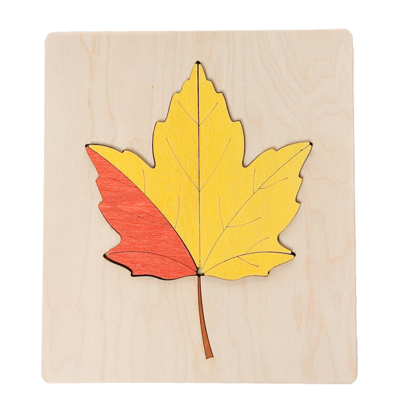 ABAfactory - Wooden Jigsaw Puzzle - Maple Tree Leaf - Yellow & Orange - Bella Luna Toys